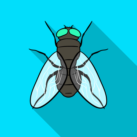Latać ikona w płaski na białym tle. Insekta symbol Stockowa ilustracja wektorowa. Ilustracje wektorowe