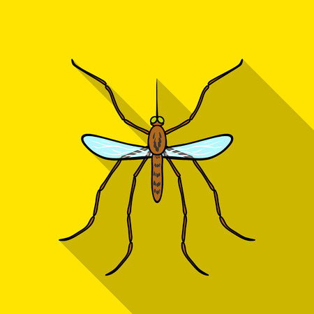 Mosquito icon in flat style isolated on white background. Insects symbol stock vector illustration. Ilustração
