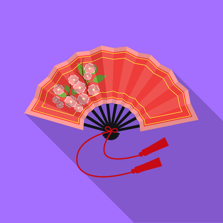 Folding fan icon in flat style isolated on white background. Japan symbol stock vector illustration.