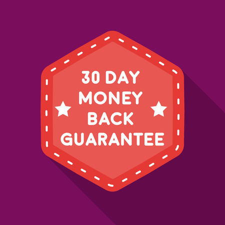 Geld terug garantie pictogram in vlakke stijl geïsoleerd op een witte achtergrond. Label symbool voorraad vectorillustratie Stock Illustratie