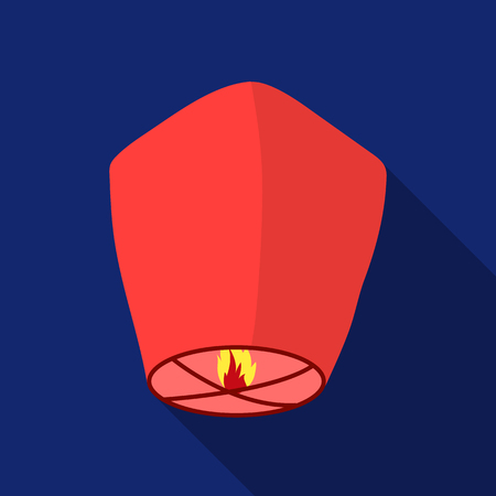 Sky lantern icon in flat style isolated on white background. Light source symbol stock vector illustration