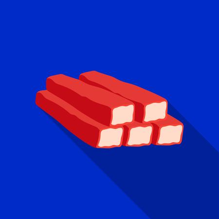 Icono de palos de cangrejo en estilo plano aislado sobre fondo blanco. Ilustración de vector stock carnes símbolo Foto de archivo - 76189323