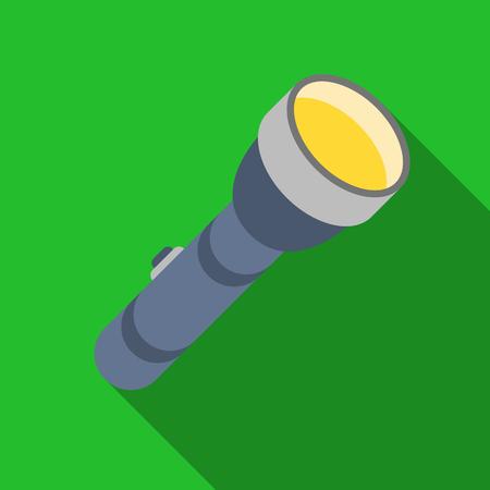 lite: Flashlight icon in flat style isolated on white background. Light source symbol stock vector illustration Illustration