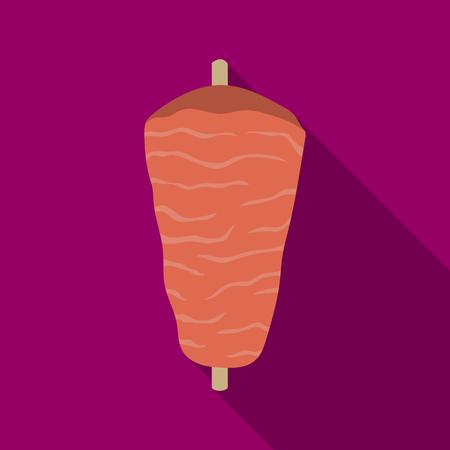kabob: Doner kebab icon in flat style isolated on white background. Meats symbol stock vector illustration Illustration