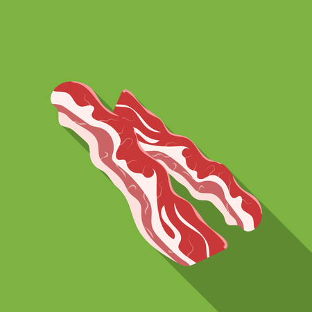 Bacon icon in flat style isolated on white background. Meats symbol stock vector illustration