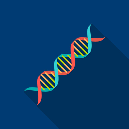 DNA code icon flat. Single medicine icon from the big medical, healthcare flat.