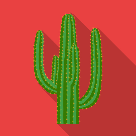 Mexican cactus icon in flat style isolated on white background. Mexico country symbol vector illustration.