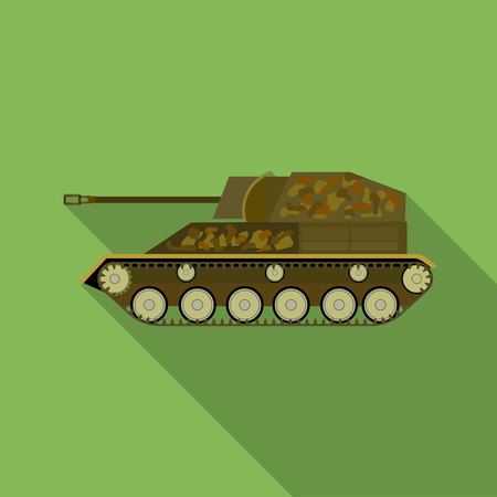 Military tank icon in flat style isolated on white background. Military and army symbol vector illustration