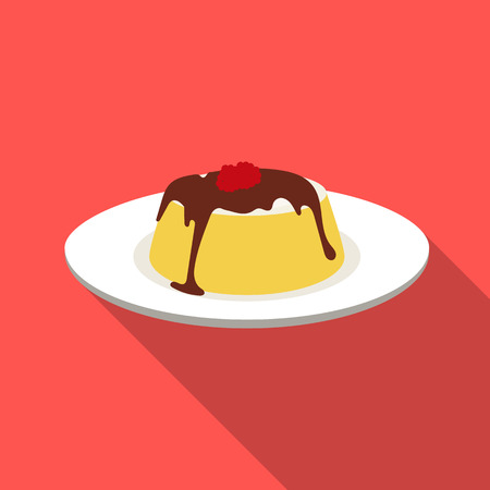 Panna cotta icon in flat style isolated on white background. Milk product and sweet symbol vector illustration.