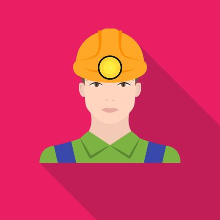 Miner icon in flat style isolated on white background. Mine symbol vector illustration. Illustration