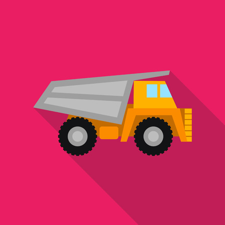 Haul truck icon in flat style isolated on white background. Mine symbol vector illustration.