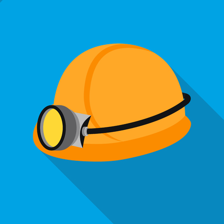 the miners: Miners helmet icon in flat style isolated on white background. Mine symbol vector illustration.