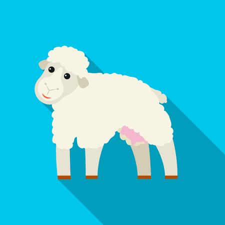 Sheep icon flat. Single bio, eco, organic product icon from the big milk flat. Illustration