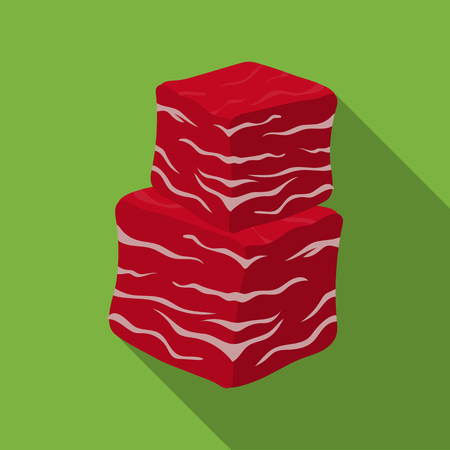 Diced beef icon in flat style isolated on white background. Meats symbol stock vector illustration Иллюстрация