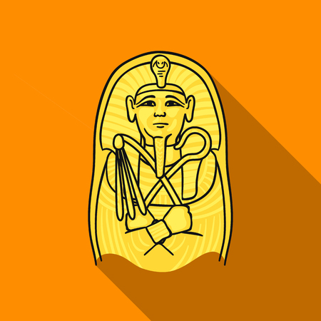 ancient civilization: Egyptian pharaoh sarcophagus icon in flat style isolated on white background. Museum symbol stock vector illustration. Illustration