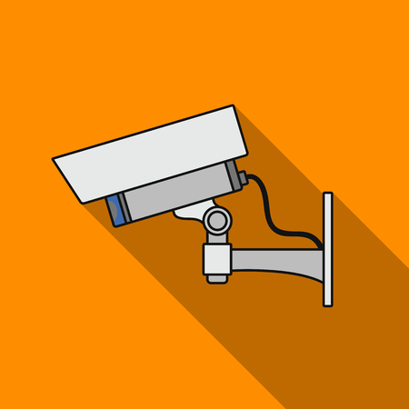 art museum: Security camera icon in flat style isolated on white background. Museum symbol stock vector illustration.