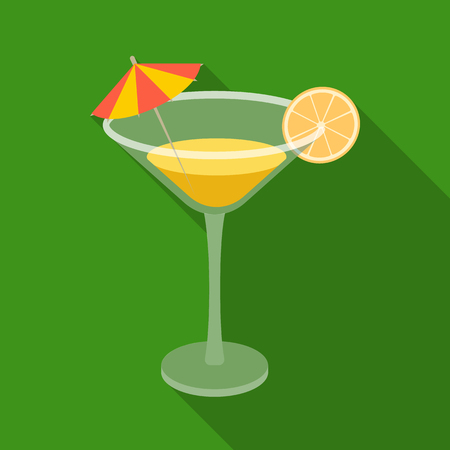 Lemon cocktail icon in flate style isolated on white background. Brazil country symbol stock vector illustration.