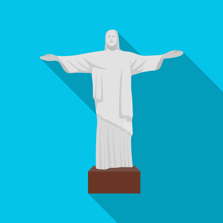 janeiro: Christ the Redeemer icon in flate style isolated on white background. Brazil country symbol stock vector illustration.