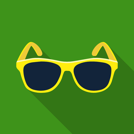 Yellow trendy sunglasses icon in flate style isolated on white background. Brazil country symbol stock vector illustration.