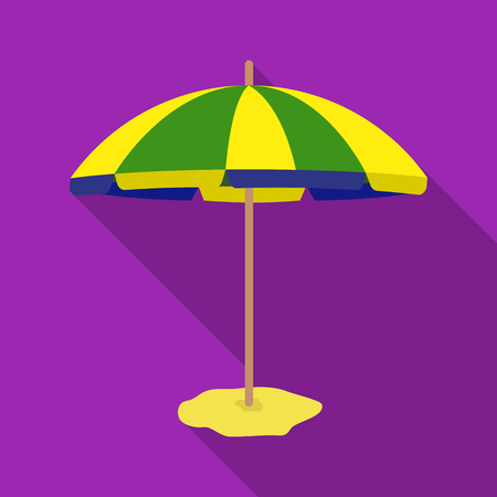Yelow-green beach umbrella icon in flate style isolated on white background. Brazil country symbol stock vector illustration.