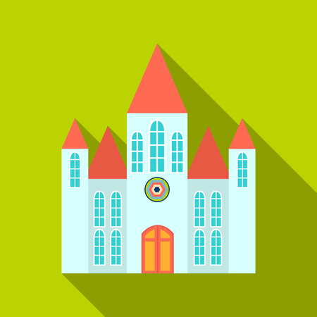 Church icon flate. Single building icon from the big city infrastructure flate. Illustration