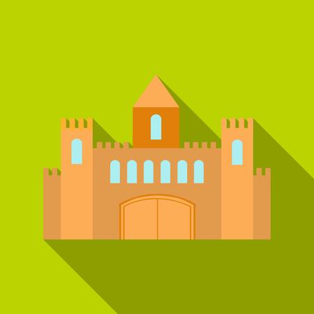 城アイコン flate。大都市インフラ flate から 1 つの建物のアイコン。  イラスト・ベクター素材