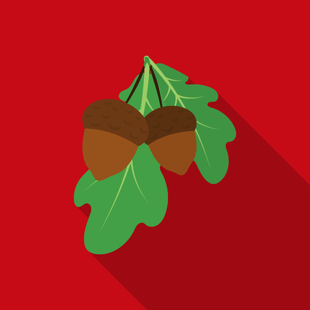 Acorns icon in flate style isolated on white background. Canadian Thanksgiving Day symbol stock vector illustration. Illustration