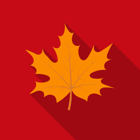 Maple leaf icon in flate style isolated on white background. Canadian Thanksgiving Day symbol stock vector illustration. Illustration