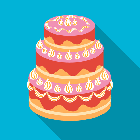 Red three-ply cake icon in flate style isolated on white background. Cakes symbol stock vector illustration.