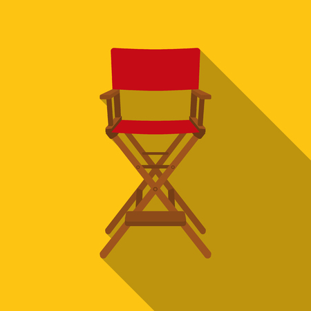 Directors chair icon in flat style isolated on white background. Films and cinema symbol stock vector illustration.