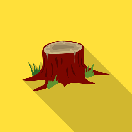 rings on a tree cut: Stump vector icon in flat style for web Illustration
