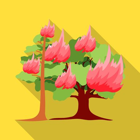 charred: Forest fire vector icon in flat style for web