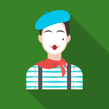 mime: French mime icon in flat style isolated on white background. France country symbol stock vector illustration. Illustration