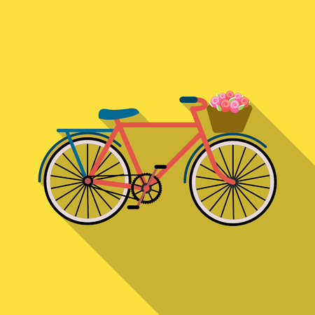 Pink bicycle with basket icon in flat style isolated on white background. France country symbol stock vector illustration.