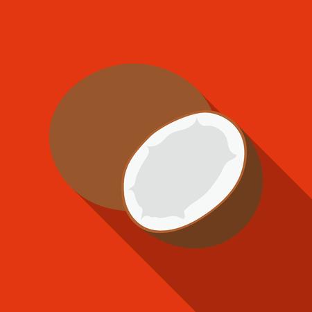 Coconut icon flat. Singe fruit icon. Illustration