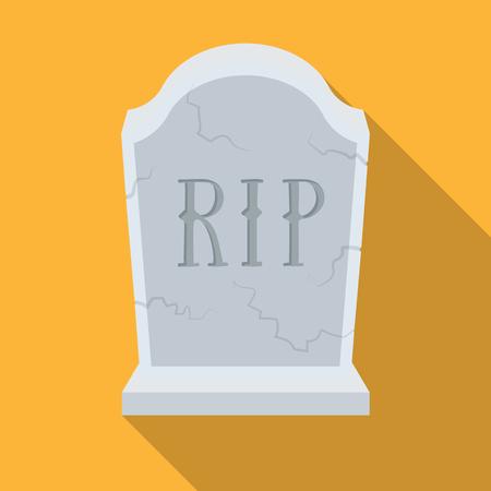 白い背景で隔離のフラット スタイルの墓石アイコン。葬儀式典のシンボル株式ベクトル イラスト。 写真素材 - 76349457