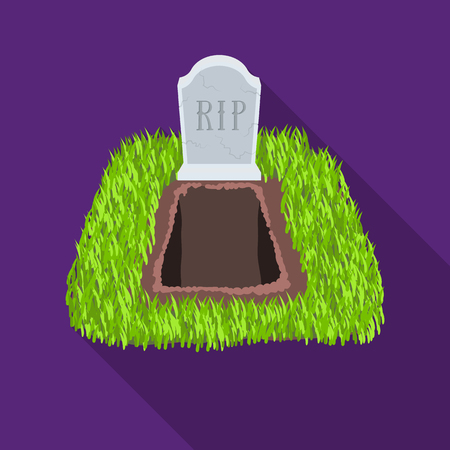Grave icon in flat style isolated on white background. Funeral ceremony symbol stock vector illustration.