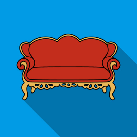 Vintage sofa icon in flat style isolated on white background. Furniture and home interior symbol stock vector illustration.