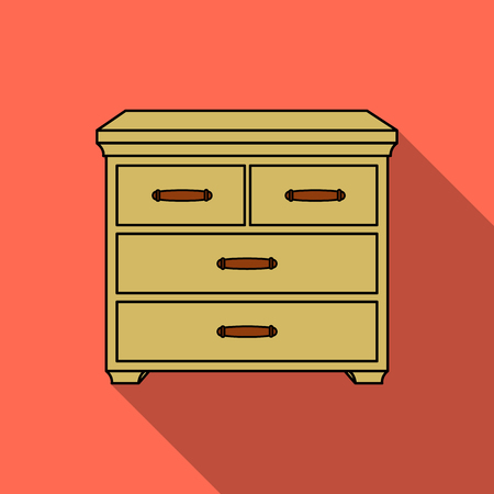 joinery: Wooden cabinet with drawers icon in flat style isolated on white background. Furniture and home interior symbol stock vector illustration. Illustration