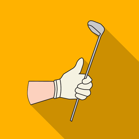 Holding of a golf club icon in flat style isolated on white background. Golf club symbol stock vector illustration.