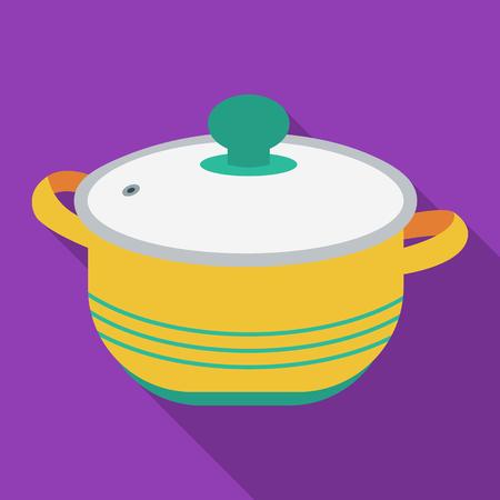stockpot: Stockpot icon in flate style isolated on white background. Kitchen symbol stock vector illustration. Illustration