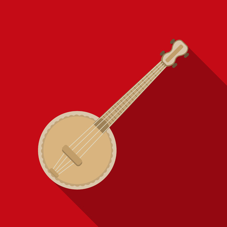 Banjo icon in flat style isolated on white background. Musical instruments symbol stock vector illustration Ilustrace