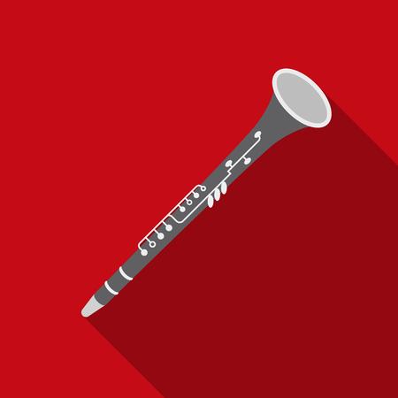 Icona Oboe in stile piatto isolato su sfondo bianco. Simboli musicali stock vector illustrazione vettoriale Archivio Fotografico - 76527470