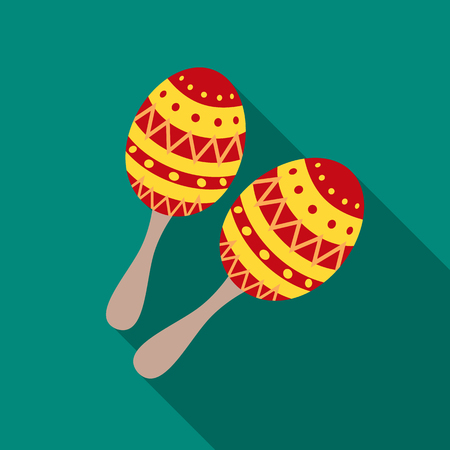 Maracas icon in flat style isolated on white background. Musical instruments symbol vector illustration Illustration