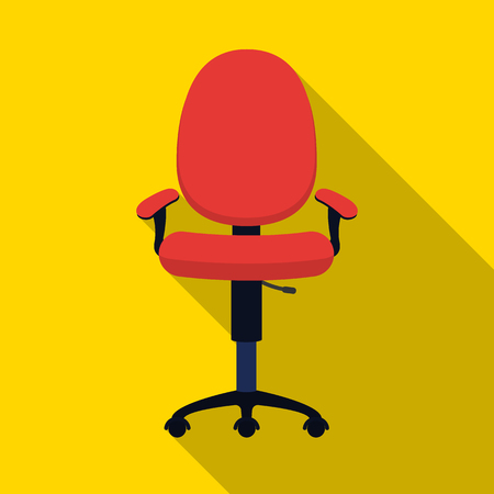 office furniture: Office chair icon in flat style isolated on white background. Office furniture and interior symbol vector illustration.