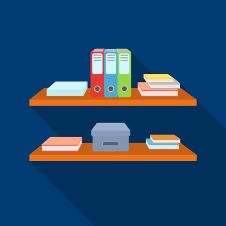 literature: Office shelves with file folders icon in flat style isolated on white background. Office furniture and interior symbol vector illustration.