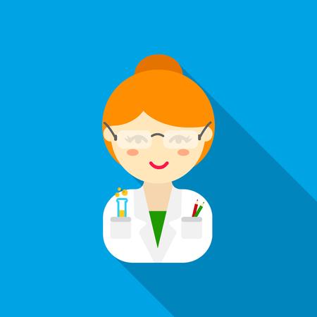 Scientist flat icon. Illustration for web and mobile design. Illustration