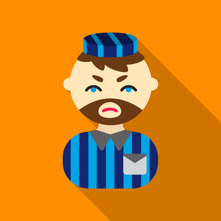 detention: Prisoner flat icon. Illustration for web and mobile design.
