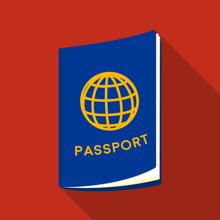 jorney: Passport icon in flat style isolated on white background. Rest and travel symbol stock vector illustration.