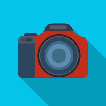 jorney: Digital camera icon in flat style isolated on white background. Rest and travel symbol stock vector illustration.